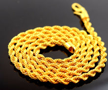 22k Yellow Gold Chain Rope Design Necklace 3 mm Durable Solid mf | Royal Dubai Jewellers