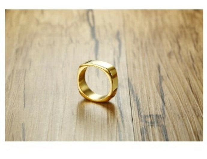 Solid Gold Ring Simple High Polished Comfort fit Square Design SM3