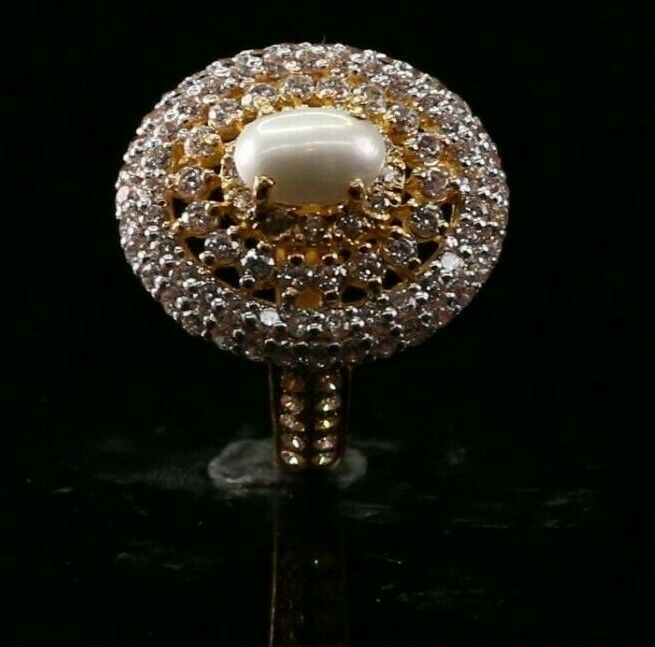 22k Pearl Ring with Encrusted Stones R2723