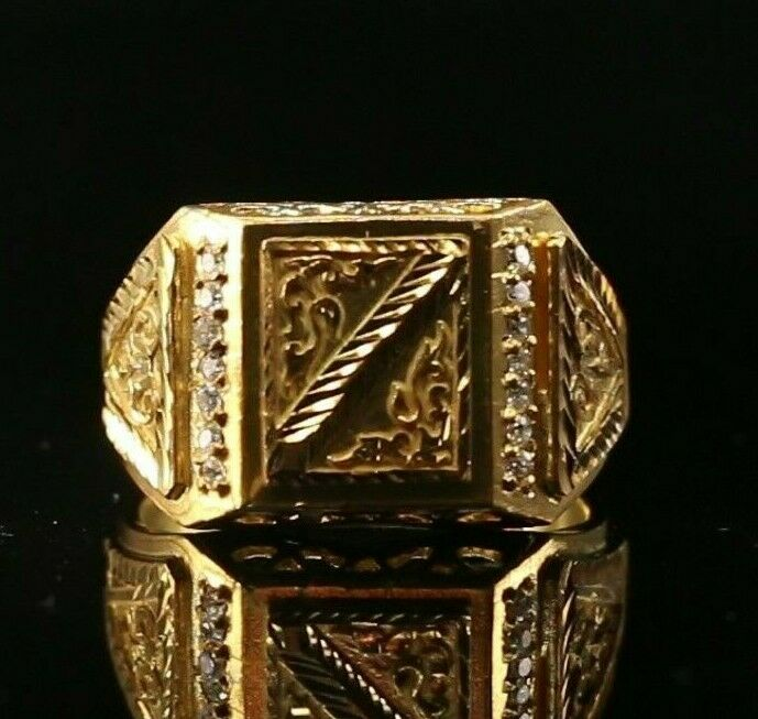 22k Ring Solid Gold ELEGANT Charm Mens Filigree Band SIZE 10.75
