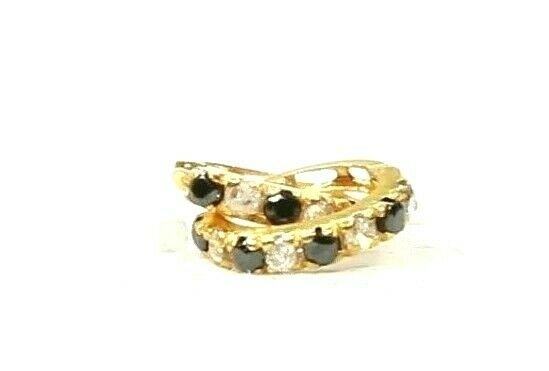 22k 22ct Solid Gold ELEGANT Simple Hoop Two Tone Stone with Onyx Design E7132