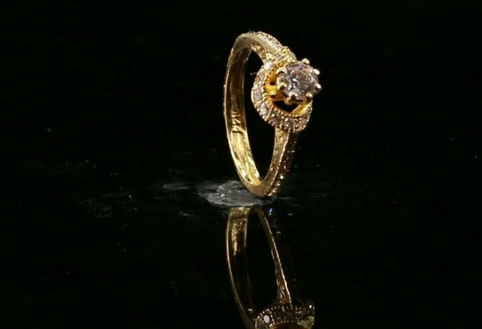 22k Ring Solid Gold ELEGANT Charm Ladies Simple Ring SIZE 5