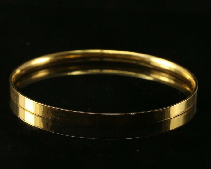 22k Bangle Solid Gold Simple Plain Comfort Fit Design Kara Size 2.5 inch B1140 | Royal Dubai Jewellers