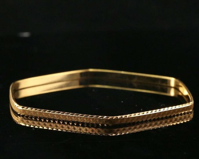 22k Bangle Solid Gold Unique Charm Hexagon Kara Design Size 2.75 inch B3064 | Royal Dubai Jewellers