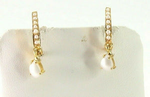 22k Earrings Solid Gold ELEGANT Simple Clip On Pearls Design e3801