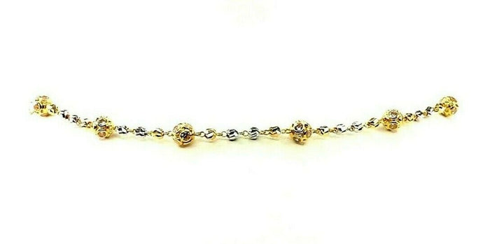 22k Yellow Solid Gold Chain Necklace Two Tone Ball Design Length 26 inch C3079