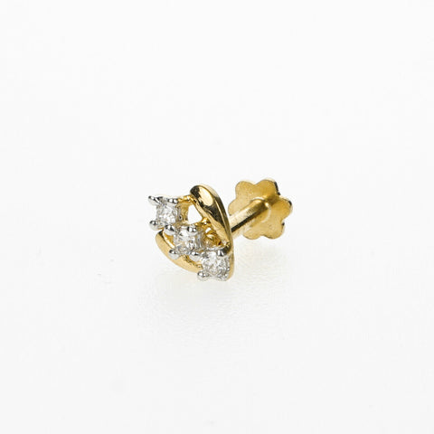 18k Stunning Modern Diamond Solid Gold Nose pin Unique Design Comfort Fit NP13