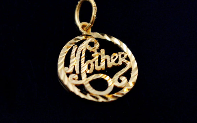 22k 22ct Solid Gold Charm Mom Pendant Round Design p1225 ns | Royal Dubai Jewellers