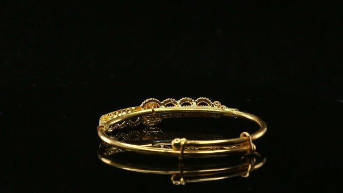 22k Solid Gold ELEGANT Children Simple Bangle Adjustable Size 1.8 inch CB1187 | Royal Dubai Jewellers