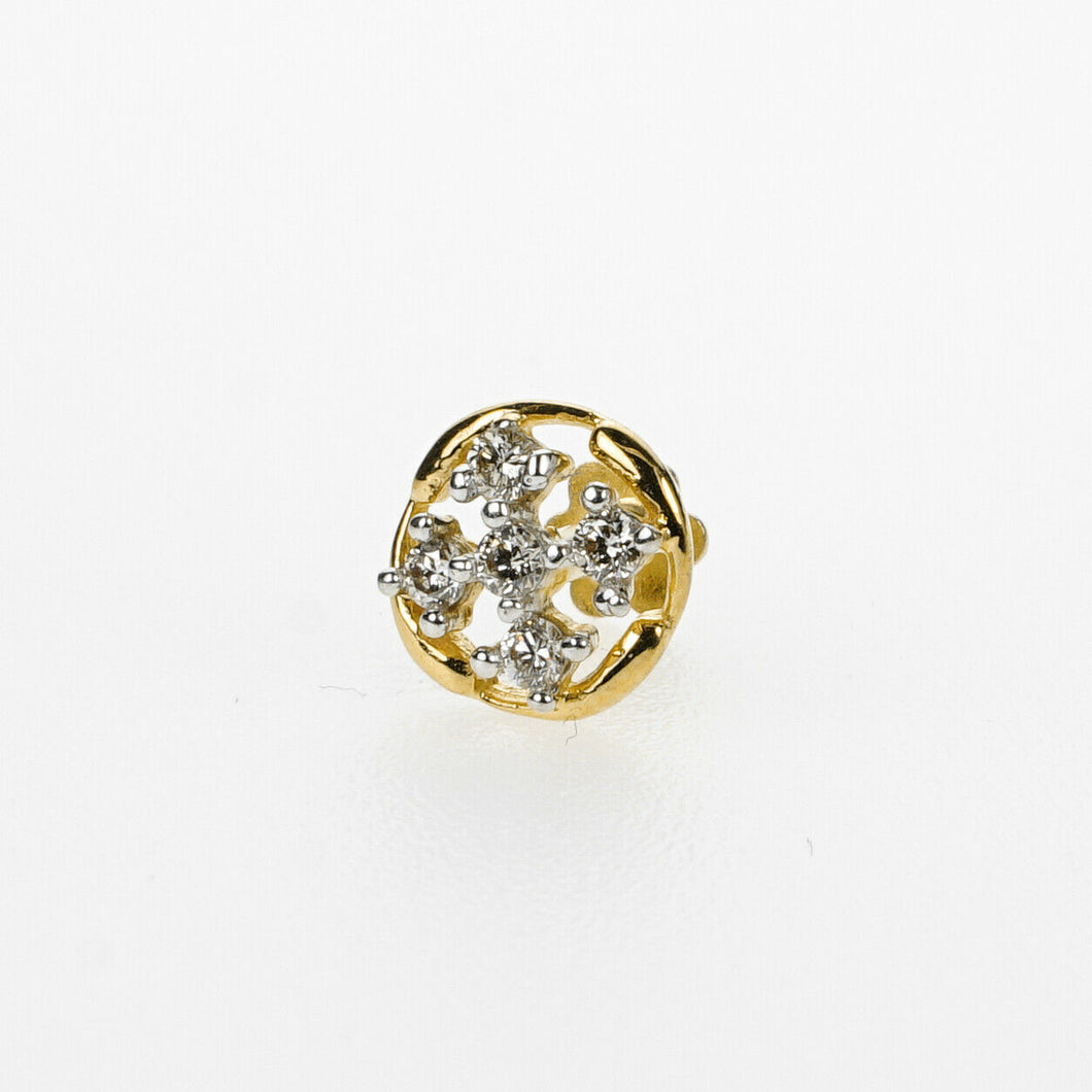 18k Stunning Modern Diamond Solid Gold Nose pin Unique Design Comfort Fit NP26