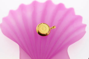 22k 22ct Solid Gold Round Charm Pendant Modern Design p708 | Royal Dubai Jewellers