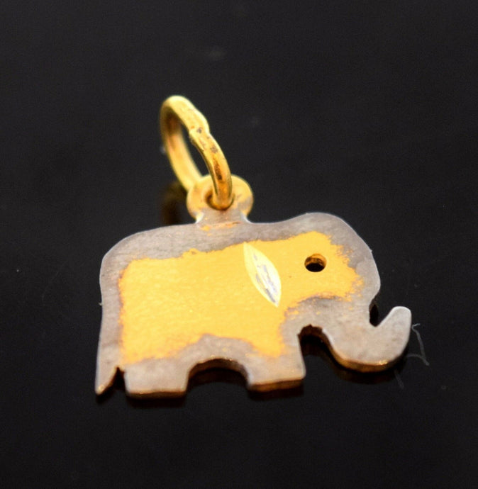 22k 22ct Solid Gold SWEET TINY ELEPHANT FACE RHODIUM KIDS LOCKET Pendant  P598 | Royal Dubai Jewellers