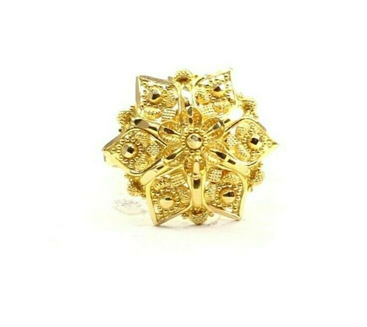 22k Ring Solid Gold ELEGANT Charm Ladies Floral Ring SIZE 7.25