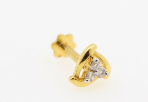 Authentic 18K Yellow Gold Charm Nose Pin Stud Diamond VS2 n307 | Forever22karat