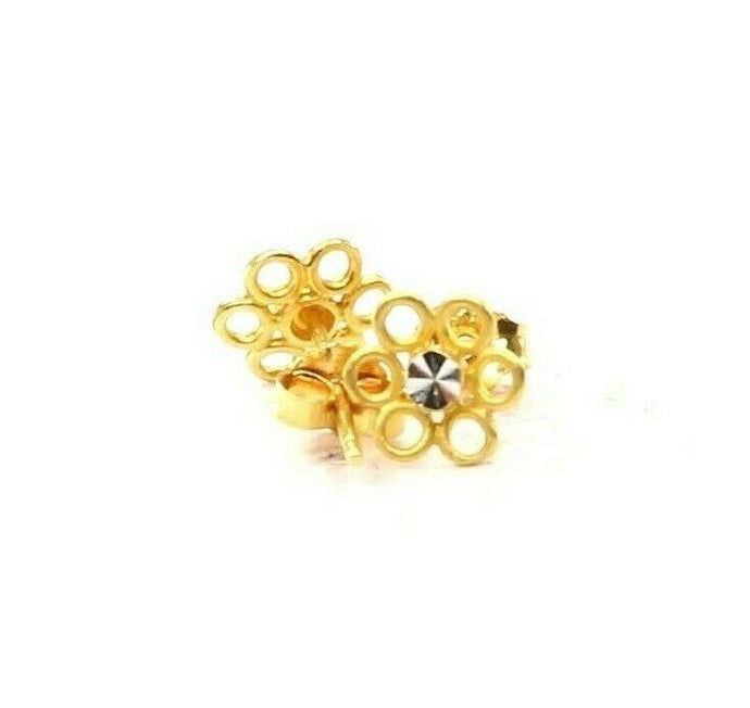 22k Earrings Solid Gold ELEGANT Simple Floral Studs Design E6360 | Royal Dubai Jewellers