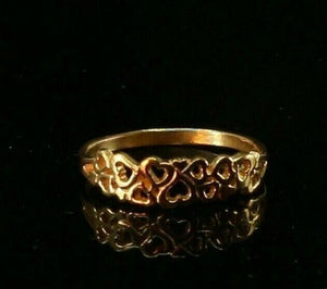 22ct 22k Solid Gold Elegant Charm Heart Pattern Ladies Ring Size R2080mon | Royal Dubai Jewellers