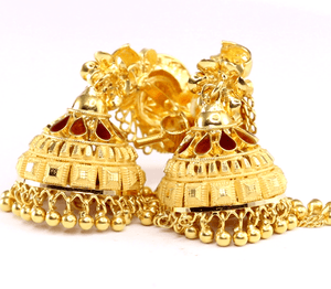22k Solid Gold Ladies EARRINGS Dangle and Drop Classic Design Size 2 inch E5978 | Royal Dubai Jewellers