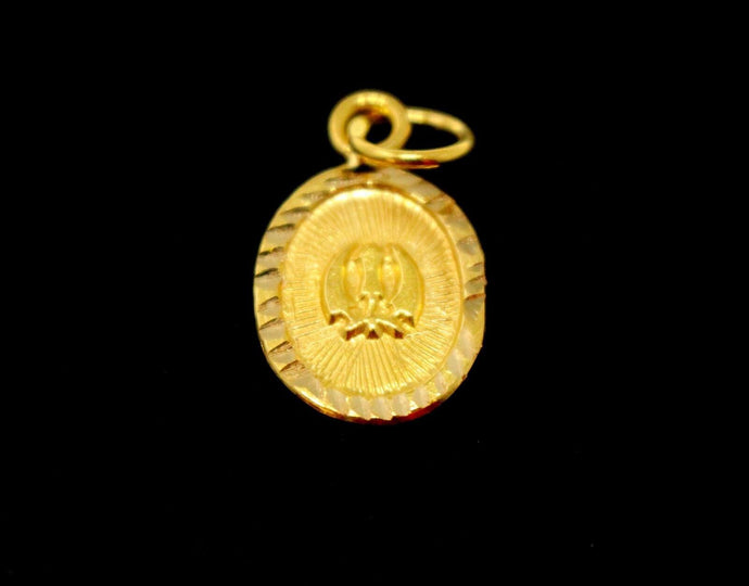 22k 22ct Solid Gold SIKH RELIGIOUS KHANDA ONKAR Pendant  Diamond Cut p975 ns | Royal Dubai Jewellers