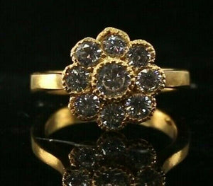 "22k Ring Solid Gold ELEGANT Charm Floral Stone Band  SIZE 8 ""RESIZABLE"" r2111"