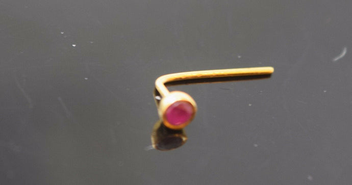 Authentic 18K Yellow Gold L-Shaped Nose Pin Stud Red Birth Stone July n137 | Forever22karat