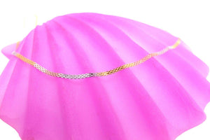 22k Chain Yellow Solid Gold Necklace Exquisite Modern Tri Tone Link Design c1066