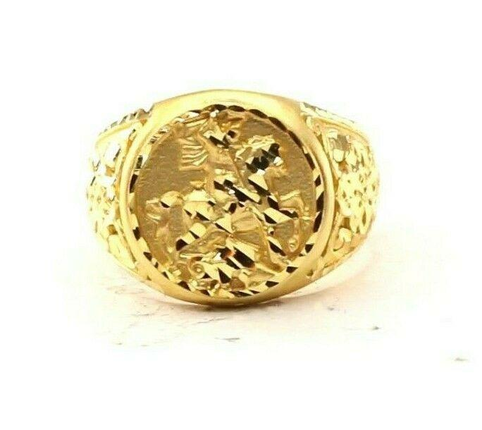 22ct 22k Solid Gold Elegant Warrior Design Mens Ring Size R2034mon | Royal Dubai Jewellers