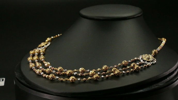 22k Yellow Solid Gold Chain Necklace Two Tone Beads Design Length 22 inch C3000 | Royal Dubai Jewellers