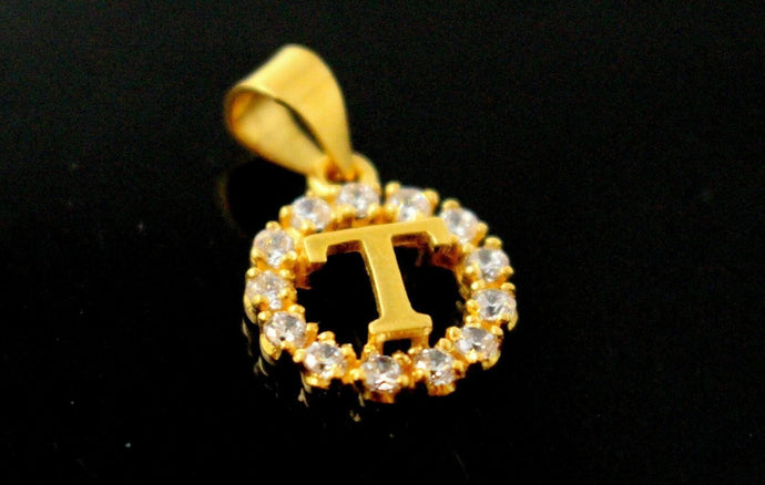 22k 22ct Solid gold graceful ROUND initial
