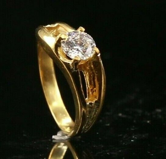 22k Ring Solid Gold ELEGANT Charm Ladies Ring Solitaire SIZE 6