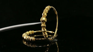 22k Earrings Solid Gold ELEGANT Simple Hoops with Beads Insert Design E8060