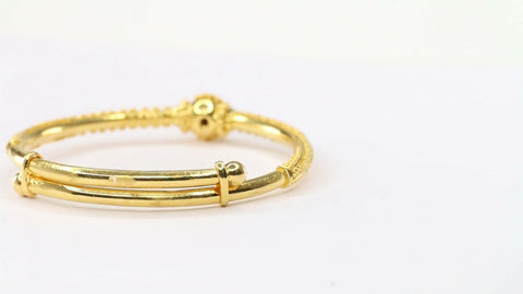 "22k Solid Gold ELEGANT Simple Children BANGLE ""ADJUSTABLE"" Size 1.7 CB1177 
