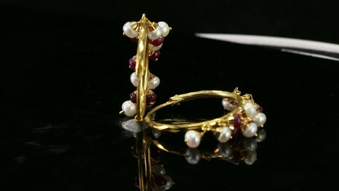 22k Earrings Solid Gold ELEGANT Simple Ruby And Pearl Stones Hoop Design E3923
