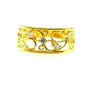 "22k Ring Solid Gold ELEGANT Charm Ladies Filigree Band SIZE 7.5""RESIZABLE"" r2316"