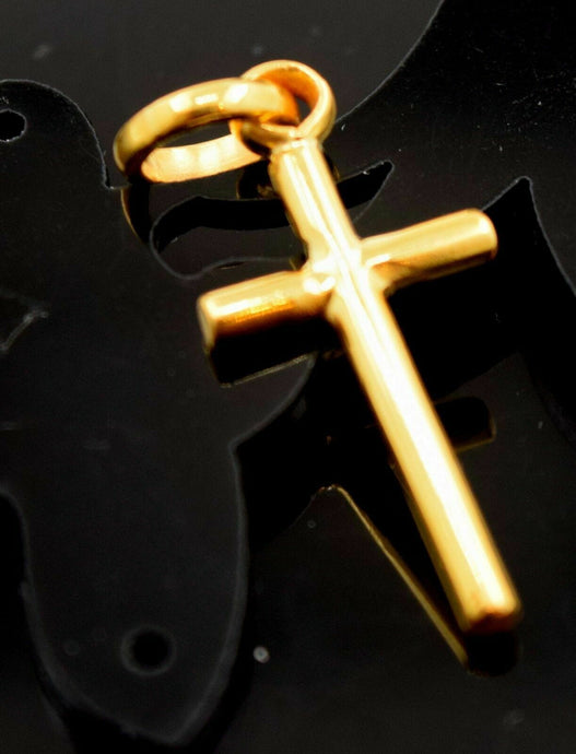 22k jewelry Solid Gold Charm Cross jesus christ god religious vintage pendant mf | Royal Dubai Jewellers