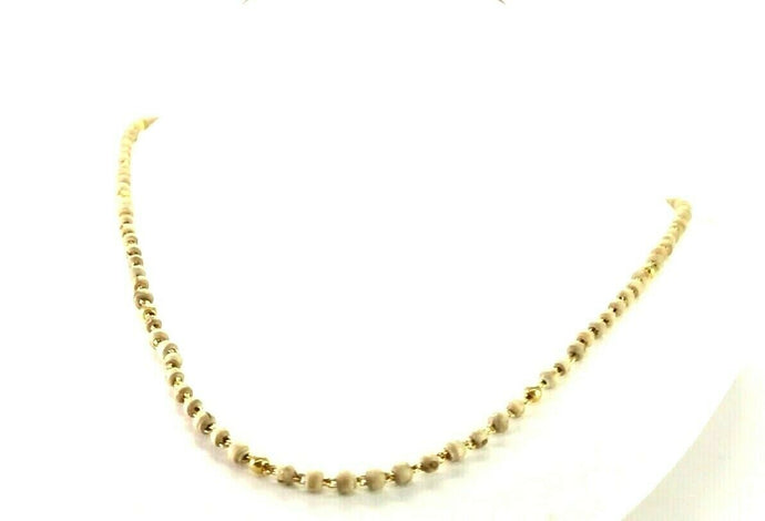 22k Chain Yellow Solid Gold Chain Necklace Wood Beads Design Length 18 inch c755