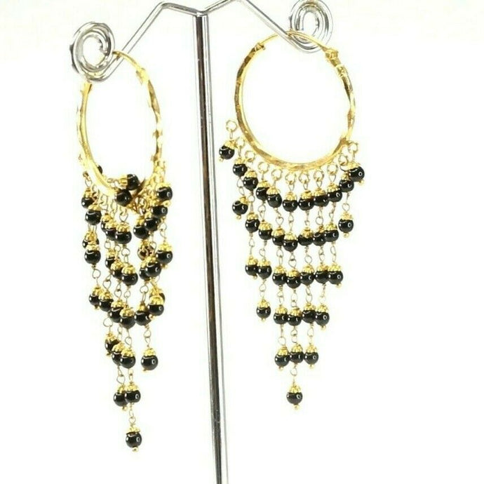 22k Earrings Solid Gold ELEGANT Simple Hoops With Onyx Stone Design E8003