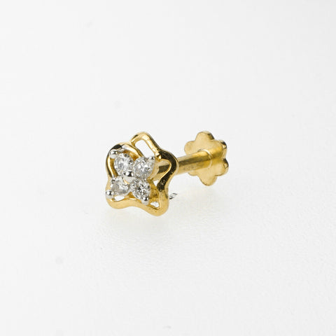 18k Stunning Modern Diamond Solid Gold Nose pin Unique Design Comfort Fit NP5