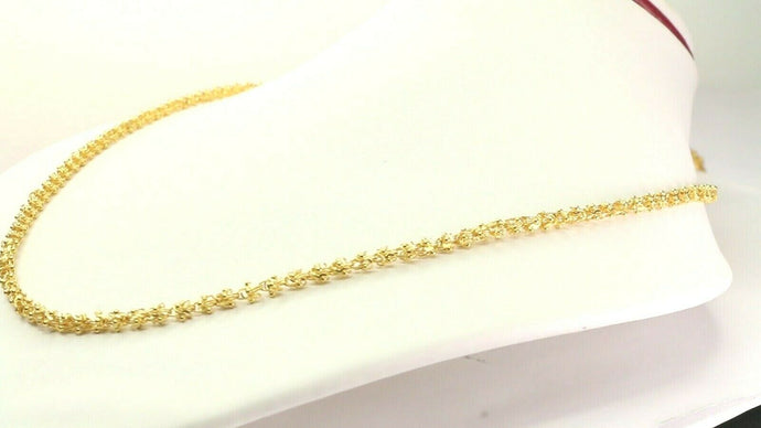 22k Yellow Solid Gold Chain Necklace Rope Design Charm Length 18 inch C3142