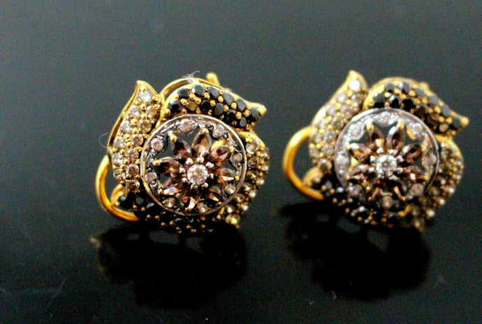 22K 22ct  SOLID GOLD DESIGNER ROUND CUBIC ZERCONIA STUDS EARRINGS E5777 | Royal Dubai Jewellers