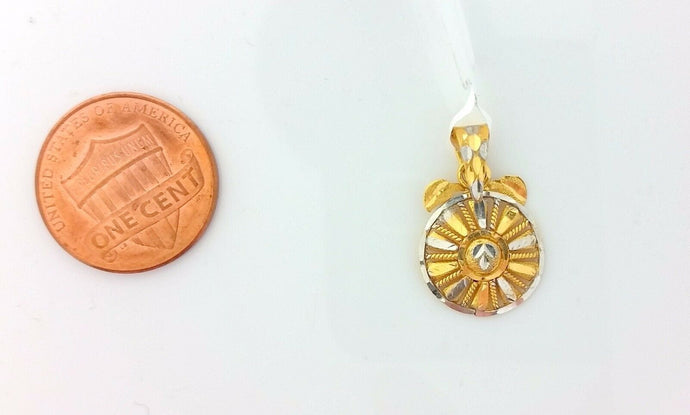22k Jewelry Solid Gold Charm Shield pendant with  gross finish p0196 | Royal Dubai Jewellers