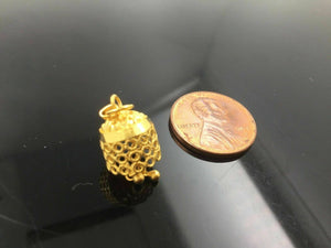 22k Solid Gold Bell Shape FINDINGS bead sphere spacer charm pendant clasp | Royal Dubai Jewellers