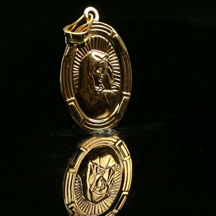 22k Pendant Solid Gold ELEGANT Classic Mother Mary Pendant  p2213