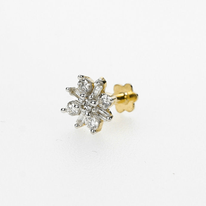 18k Stunning Modern Diamond Solid Gold Nose pin Unique Design Comfort Fit NP96 - Royal Dubai Jewellers
