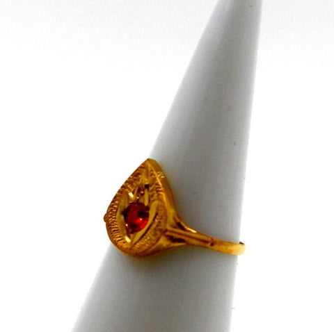 "22k 22ct Solid Gold BEAUTIFUL BABY Ring Orange Stone SIZE 0.9 ""RESIZABLE"" r1226 