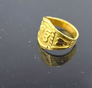 "22k 22ct Solid Gold ELEGANT SIKHI KHANDA ONKAR BABY KIDS Ring ""RESIZABLE"" mf 