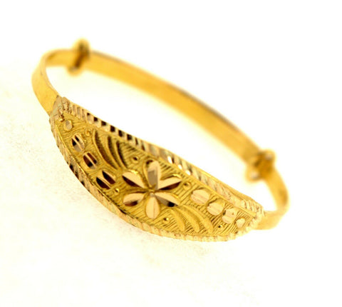 22k 22ct Solid Gold ELEGANT BABY KID BANGLE BRACELET ADJUSTABLE cb1103 | Royal Dubai Jewellers