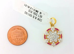 22k Solid Gold Charm Shield Shape pendant with diamonelle  gross finish s0143 | Royal Dubai Jewellers