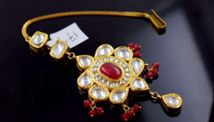 22k 22ct Yellow Gold ELEGANT KUNDAN RUBY STONE MANG TIKKA TIKA BRIDAL WOMAN T7 | Royal Dubai Jewellers