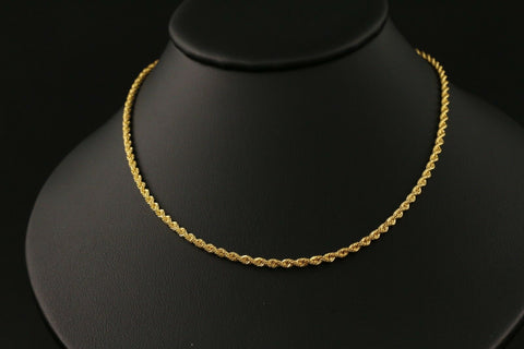 22k Yellow Solid Gold Chain Necklace Simple Rope  Design Length 16 inch C132