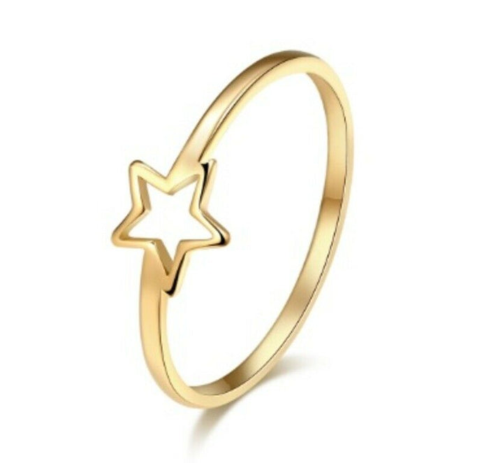 Solid Gold Ring Simple Band with Cute Star Symbol Design SM22